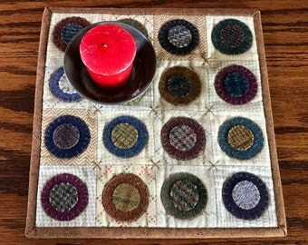 kit; wool and flannel penny rug/candle mat