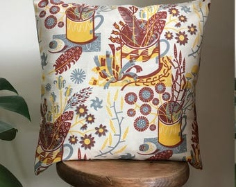 "Cushion Cover Angie Lewin Design ""Nature Table""- Botanic Still Life Design"