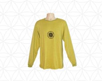 Organic Clothing - Custom made Hemp clothing - Handmade  Mens Organic Cotton and Hemp Shirt - Sacred Geometry Print -  - Hand dyed,  printed