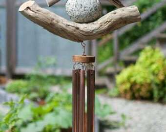Wind Chime Beach Stone Driftwood Large Copper Chimes