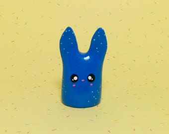 Speckled Blue Bunny - Clay Figurine