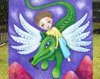 Dragon Boy Original Painting Dragon Art by Lindy Longhurst Folk Dragon Art Painting Art for Boys Room Affirmation Card Protective Boy's Art