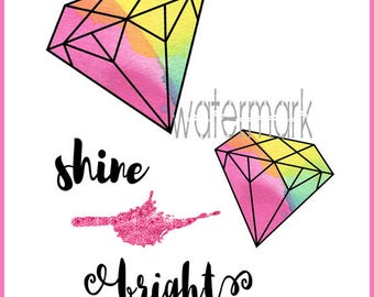 Shine Bright Diamond Geometrical Shapes Blank Note Card Greeting Card Instant Digital Download Print-Trim-Mail Notecard