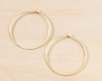 Large Hoop Earrings, Classic Hoops in Pink Gold, Sterling Silver or Gold Filled Simple Minimalist, Perfect Everyday Earrings, Gift for Her