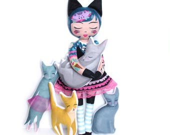 Crazy Cat Lady Dolly with 4 cats - Freyja and pals - doll crazy cat lady cats cattoo cat tattoo tattooed lady
