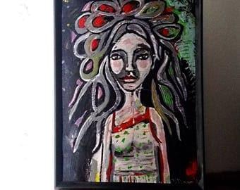 In My World, Original Painting, Dreadlocks, Portrait, Woman, Textured, Bohemian, Art, Medusa, Wall Art, Home Decor
