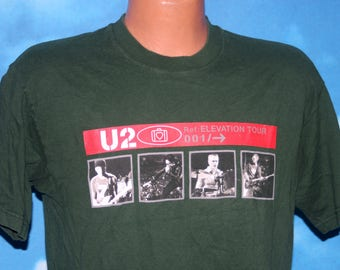 U2 Elevation Tour Slane Ireland Green Medium Vintage Tshirt