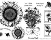 NEW Sunflowers -HALF SHEET Red Rubber Stamps, unmounted,  Sunflowers, faux postage, Bee, hello sunshine, happy mail