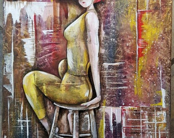 Abstract Girl on Stool