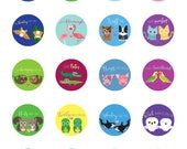 Animal Pun Illustrated Stickers 1.5 Inch Round - Gift for Him - Gift for Her - Friends - Couple - Valentine