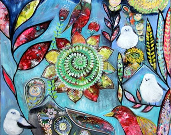 Boho Chic Original Intuitive Painting Birds and Blooms Mandala Art by Carol Iyer