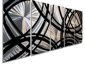 Silver & Black Modern Metal Wall Art, Contemporary Wall Sculpture, Home Decor, Abstract Wall Sculpture Decor - Fast And Furious by Jon Allen