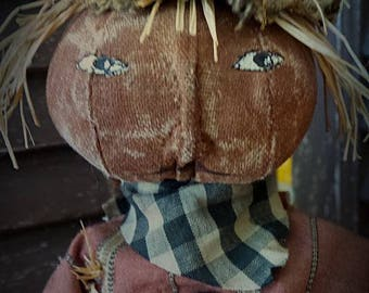 MUSTARD SEED ORIGINALS, Scarecrow, Pumpkin, Orange, Jackolantern, fall, halloween, Doll by Sharon Stevens