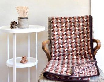 Earthtone Graphic Plaid Wool Throw Blanket Medium/Lightweight Shades of Brown Clay Rust Cream Pixels Jigsaw