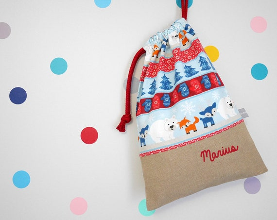 Customizable drawstring pouch - Bear - Fox - Reindeer - Snow - Winter - Blue - Red - Christmas - cuddly toy - slippers - toys