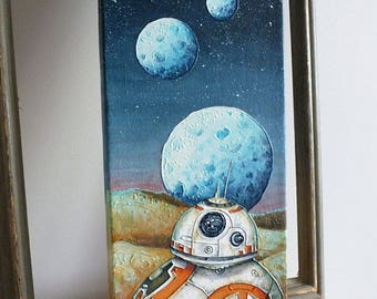 BB8 Original Painting 6x16 Star Wars Acrylic