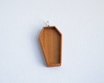 Coffin blank pendant tray - Cherry - 30 x 55 mm cavity - Silver finish bail - (F61-C)