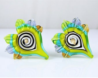 Spiked Heart Lampwork Glass Bead Pair