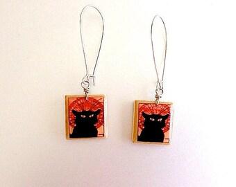 Le Chat Noir Scrabble Earrings - Black Cat Earrings - Recycled -  Francophone - cat lover