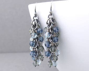 Blue Beaded Earrings Blue Crystal Earrings Dangling Earrings Silver Jewelry Blue Earrings Beaded Jewelry Crystal Jewelry - Shaggy Loops