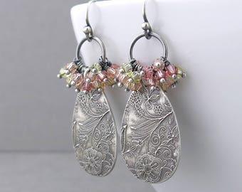 Dainty Crystal Earrings Boho Earrings Peach Crystal Cluster Earrings Bohemian Jewelry Unique Silver Jewelry Gift for Her - Beth