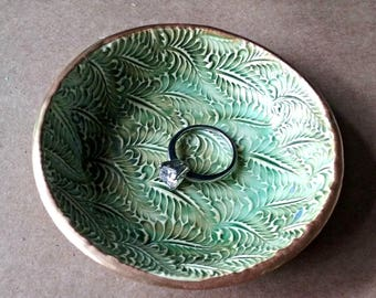 Ceramic Ring Bowl Trinket bowl jewelry dish Ring dish ring holder moss green fern Gold edged