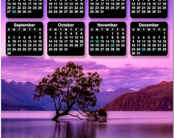 Purple Pink Sky Reflecting on Water 2018 Full Year View Calendar - Magnet, Print, Poster #3855