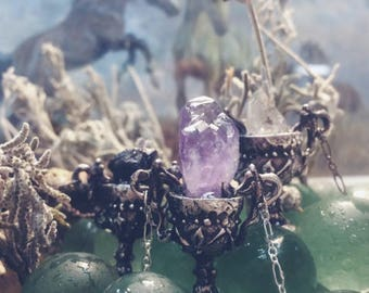 chalice // silver and raw amethyst pendant