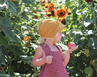 Sherpa Baby Bonnet, Winter Baby Hat, Sunbonnet for Babies, Yellow Corduroy Baby Bonnet