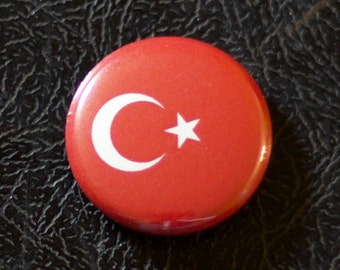 "1"" Turkey flag button, country, pin, badge, pinback, Made in USA"