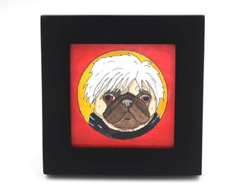 Andy Warhol Pug Pop Art Painting, Pug Decor Gift, Funny Animal Art, Small Artwork, Tiny Painting, Cute Art Gifts, Pug Illustration, Dog Art
