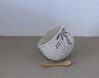 Salt Pig Cellar - Handmde Stoneware Pottery Ceramic - White - 12 ounces