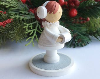 Paper art girl miniature figurine dressed for snow, holiday home decor, christmas decor, winter decor, quilled paper art, birthday gift
