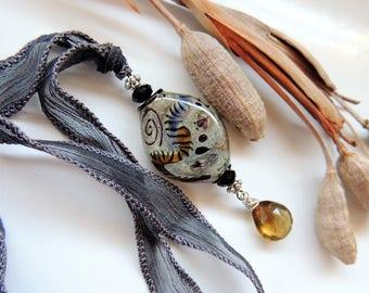 Artisan Lampwork and Champagne Quartz Pendant on Silk Ribbon