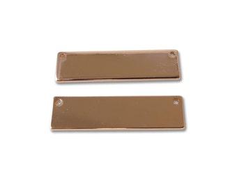 Rose Gold Plated Engravable Rectangle Pendants - (2x) (K619-D)