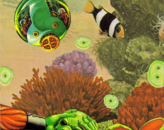 Under Sea Alien Art Collage, Mixed Media Artwork
