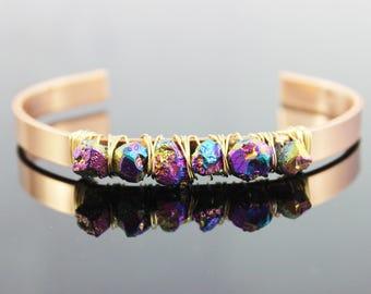Rainbow Pyrite Cuff Bracelet, Raw Gemstone Bracelet, Beaded Bangle Bracelet, Metal Copper Cuff Bracelet, Gold Bangle Bracelet, Wire Wrapped