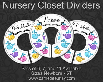 Whales Baby Closet Dividers, Whale Nursery Decor, Baby Girl Gift, Nautical Nursery, Girls Patterned Whale