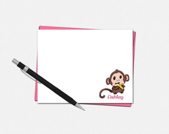 Baby Monkey Note Cards - Personalized Baby Monkey Flat Note Cards - Personalized Stationery for Kids - Baby Monkey Note Card