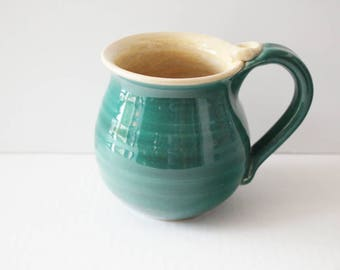 Teal Blue Gift Mug - 14 oz - Ready to Ship - Blue and Oatmeal Glazes - Coffee Cup with thumb rest