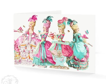 Marie Antoinette let them eat cake card, birthday card, friendship card, blank inside
