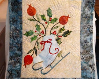 Ice Skates Appliqued and Quilted Wall Hanging