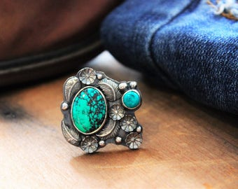 Sterling Silver & Turquoise Western Boho Chunky Ring size 7