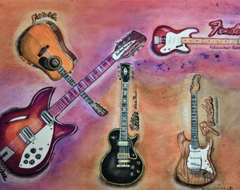 Custom Guitar Art, Custom Guitar, Guitar Painting, Guitar Original, Original Painting, Your Guitars, Guitar Watercolor, Customized Guitars