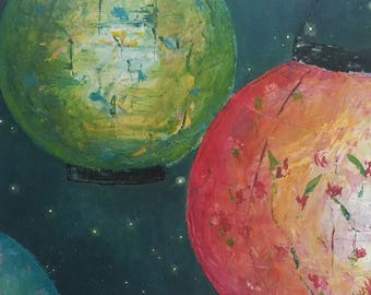 Lanterns at Night Original Acrylic Painting