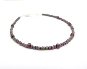 Seed Bead Bracelet Dainty Tiny Purple Bracelet, Gift for woman teen tween coworker sister, Holiday Stocking Stuffer, Friendship bracelet