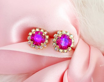Fuchsia Pink 8mm with AB Swarovski Earrings In Gold Matte Setting *Lots of SPARKLE*