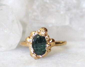 HUGE SALE tourmaline ring, green tourmaline, gemstone ring, gold ring, stackable ring, stacking ring, birthstone ring