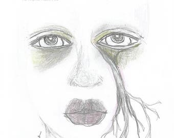 Pencil Drawing Woman Face Crying Eye Tree Branch Tears Expression Weeping Tree Woman