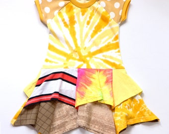 neon gold tiedye LOTUS dress COURTNEYCOURTNEY polks dots golden 4T 4 short sleeve dyed layered tiered tiers